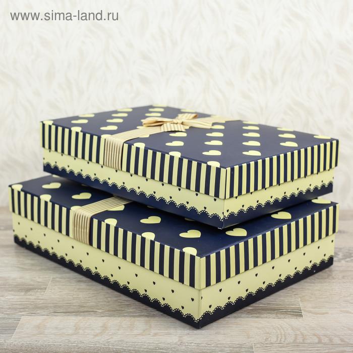 """Набор коробок 2в1 прямоуг """"Сердца/полоска"""" (43*30*10/39*27*8,5 см), синий/бежевый"""