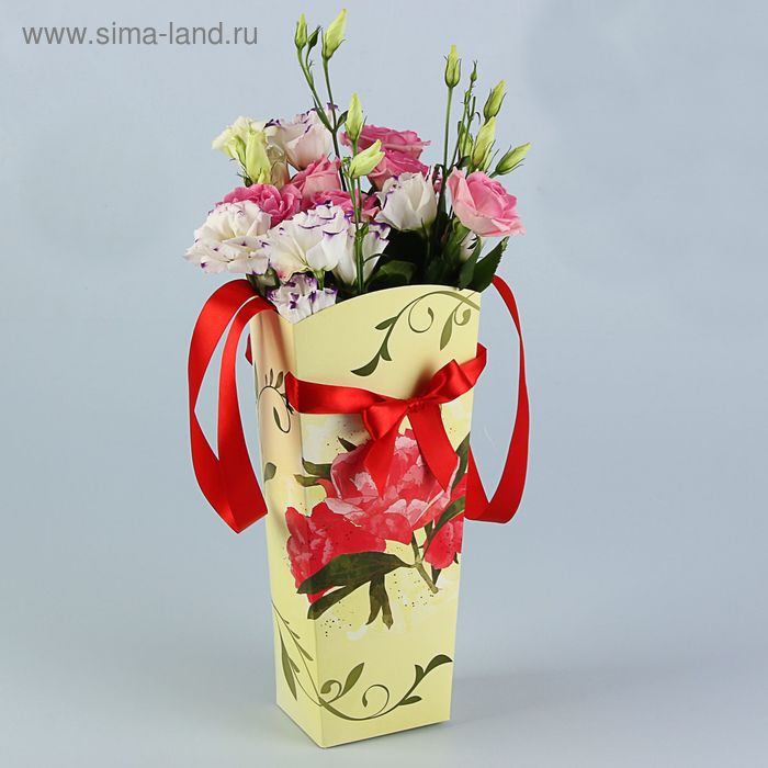 """Пакет для цветов """"Пион золотой"""" серия цветы, 15х13 см"""