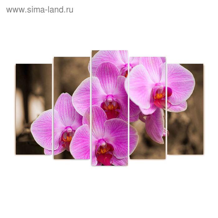 """Модульная картина на подрамнике """"Розовые орхидеи"""", 125×80 см"""