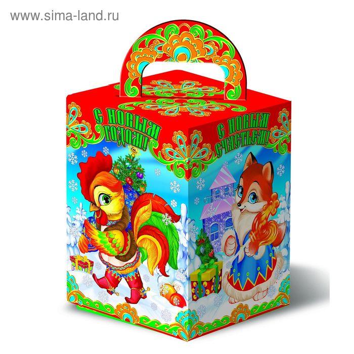 """Подарочная коробка """"Петушок и Лисичка"""", сборная, 11,5х11,5х16 см"""