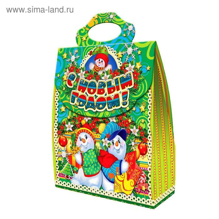 """Подарочная коробка """"Снеговики"""", сумка, сборная, 23,5х9х27,8 см"""