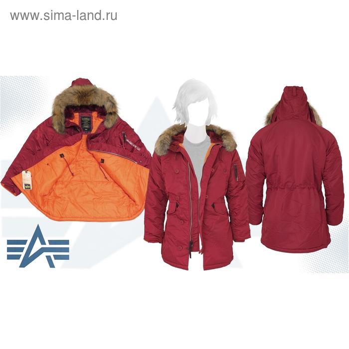 Куртка утеплённая женская N-3B W Parka Alpha Industries Commander Red, натуральный мех, XL