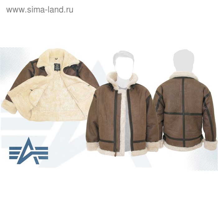 Куртка утеплённая Sheepskin Sherpa B-3 Alpha Industries Brown, кожа, овчина, L