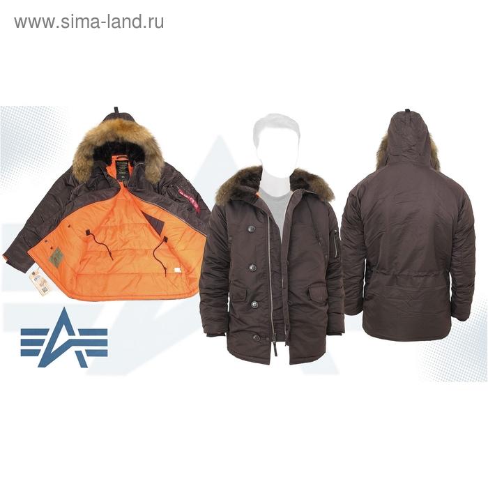 Куртка утеплённая Slim Fit N-3B Parka Alpha Industries Deep Brown/Orange, натуральный мех, 3XL