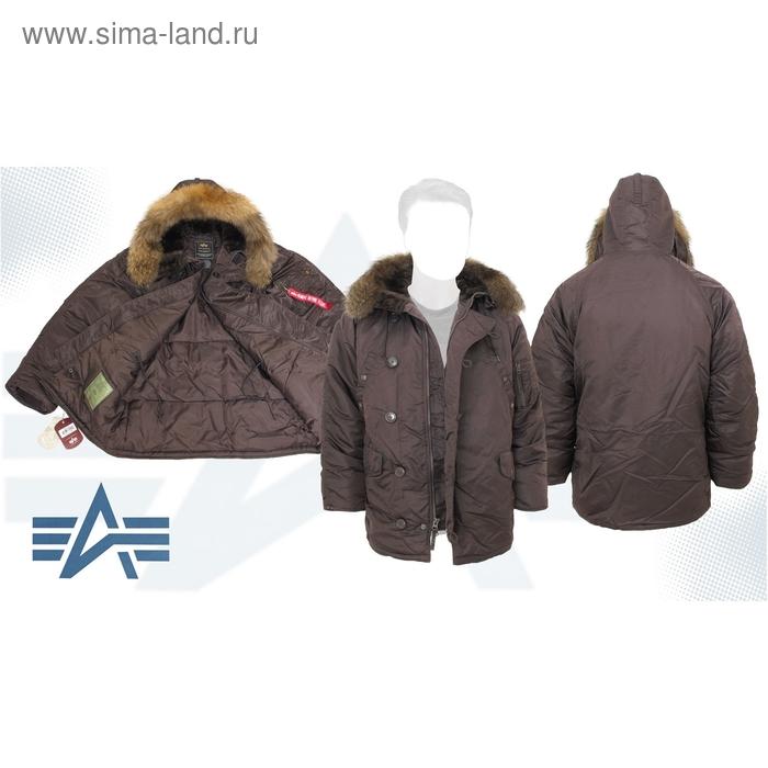 Куртка утеплённая N-3B Parka Alpha Industries Gun Metal, натуральный мех, 3XL