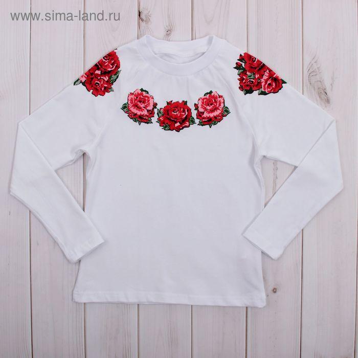 """Джемпер для девочки """"Ночной букет"""", рост 104 см (54), цвет белый, принт розы ДДД265804_Д_1"""