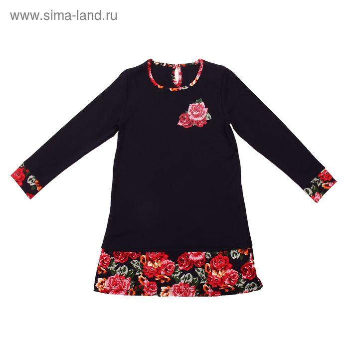 """Платье для девочки """"Ночной букет"""", рост 110 см (56), цвет тёмно-синий, принт розы ДПД267067_Д_1   15"""