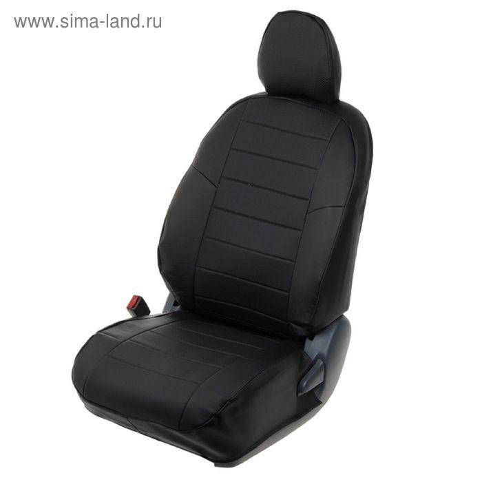 Авточехлы для Citroen C4, седан, 2012-, черный, экокожа