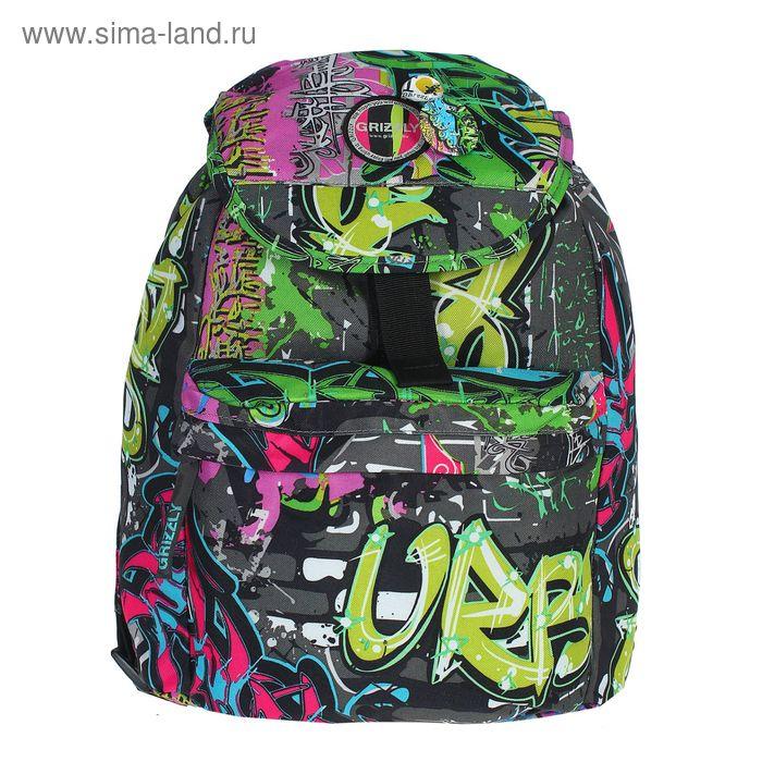 """Рюкзак молодёжный на стяжке шнурком """"Граффити"""", 1 отдел, 1 наружный карман, цветной"""