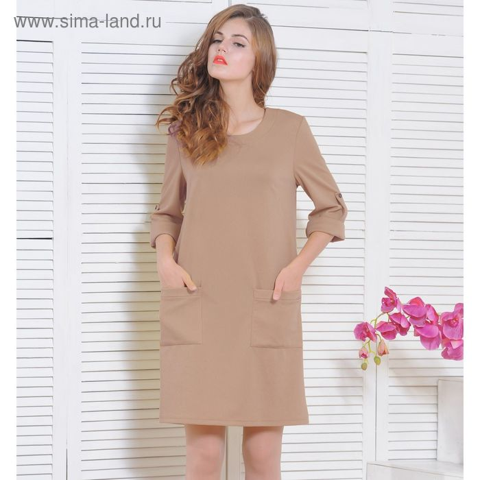 Платье 5135в, размер 48, рост 164 см, цвет бежевый