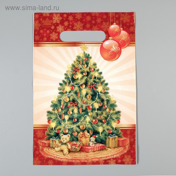 """Пакет """"Праздничная елочка"""", полиэтиленовый с вырубной ручкой, 30х20 см, 30 мкм"""