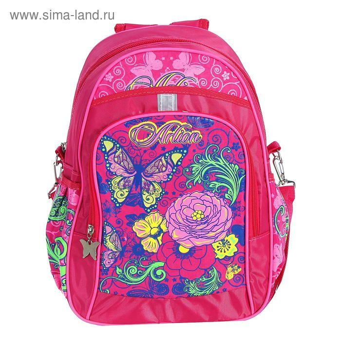Рюкзак молодёжный на молнии, 1 отдел, 2 наружных и 2 боковых кармана, длинный ремень, розовый
