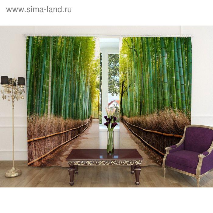 """Фотошторы """"Бамбуковый лес"""", ширина 150 см, высота 260 см-2шт., шторная лента, блэкаут"""