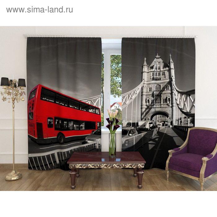 "Фотошторы ""Лондон"", ширина 150 см, высота 260 см-2шт., шторная лента, блэкаут"