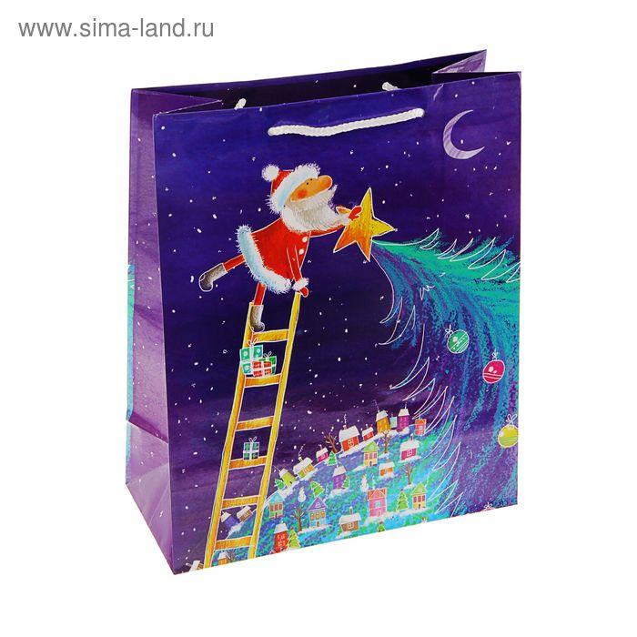 "Пакет подарочный ""Веселый Дед мороз"", 14.5 х 11.5 х 6.5 см"