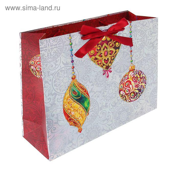 """Пакет подарочный """"Игрушки для ёлочки"""" люкс, 36 х 32 х 12 см"""