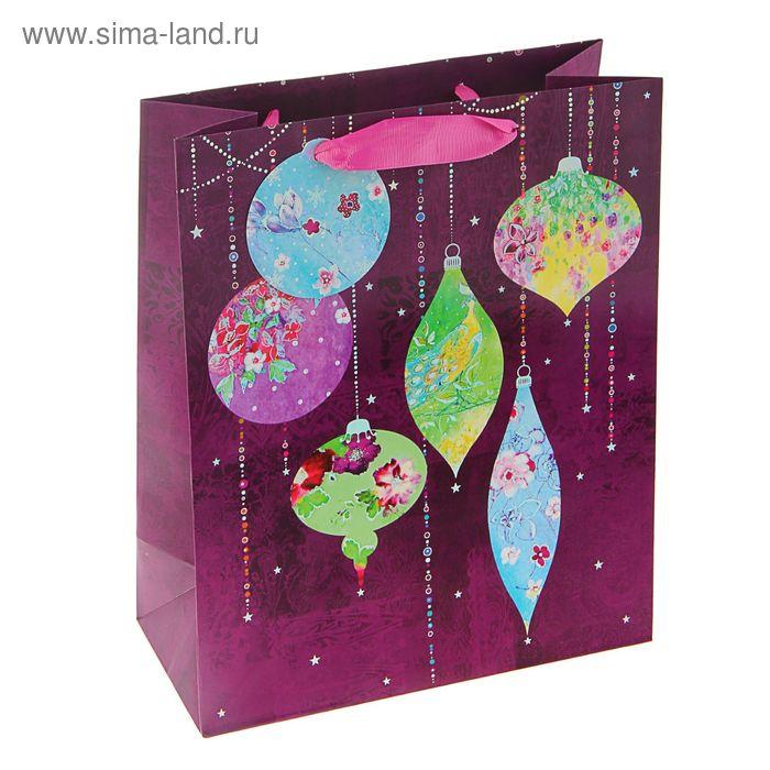 """Пакет подарочный """"Пурпурный праздник"""" люкс, 32 х 26 х 12 см"""