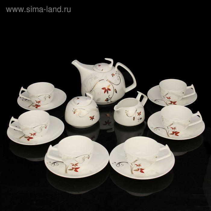 """Сервиз чайный """"Катрин"""", 15 предметов: чайник 1 л, чашка 160 мл, сахарница 300 мл, молочник 200 мл, блюдце d=15 см"""
