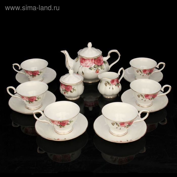 "Сервиз чайный ""Роза"", 15 предметов: чайник 950 мл, чашка 200 мл, сахарница 220 мл, молочник 200 мл, блюдце d=15 см"