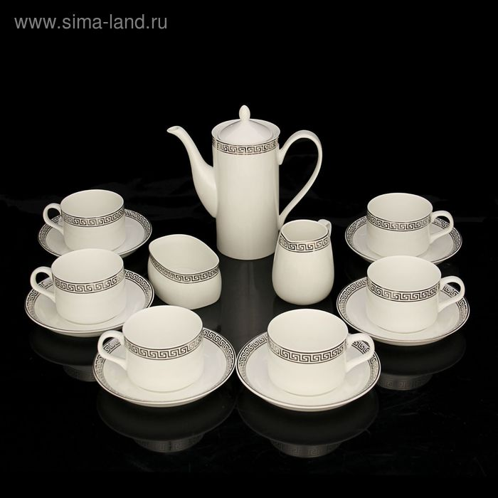 "Сервиз кофейный ""Афродита"", 15 предметов: чайник 570 мл, чашка 170 мл, сахарница 200 мл, молочник 200 мл, блюдце d=14 см"