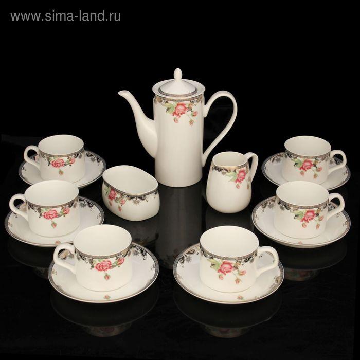 "Сервиз кофейный ""Талия"", 15 предметов: чайник 650 мл, чашка 200 мл, сахарница 200 мл, молочник 200 мл, блюдце d=14 см"