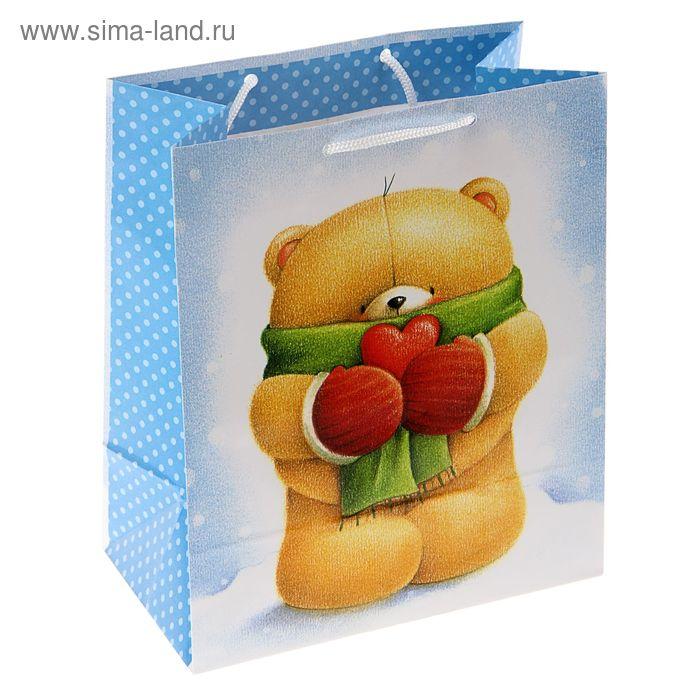 "Пакет подарочный ""Теплый мишка"", 14.5 х 11.5 х 6.5 см, Hallmark"