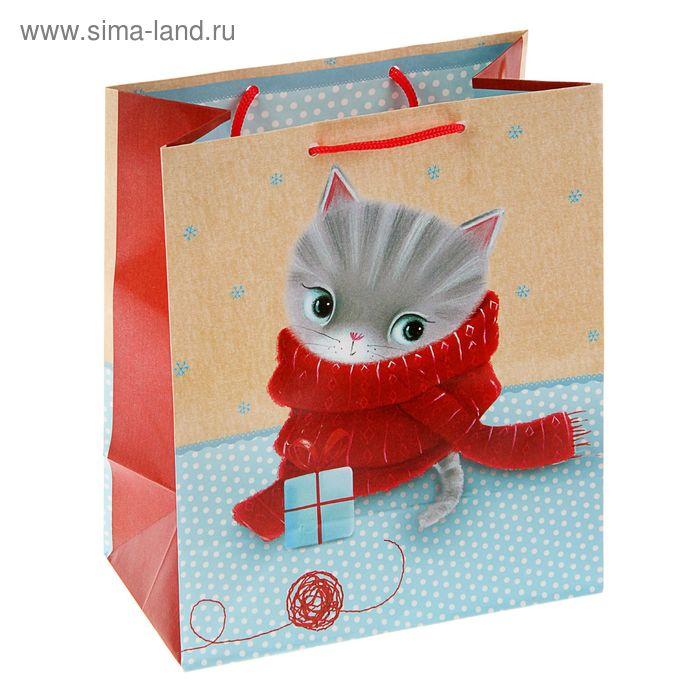 """Пакет подарочный """"Котенок с клубком"""", 36 х 26 х 11.5 см, Hallmark"""