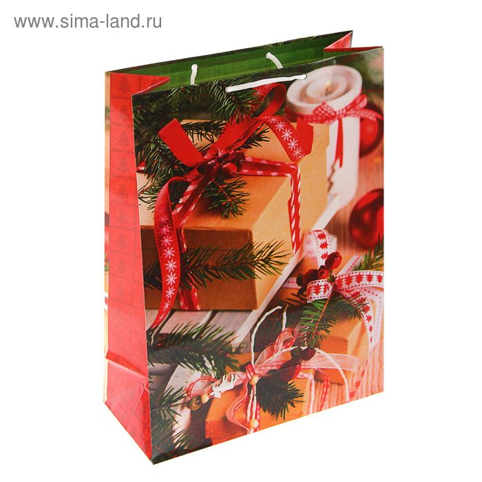 "Пакет подарочный ""Новогодний антураж"", 36 х 26 х 11.5 см"
