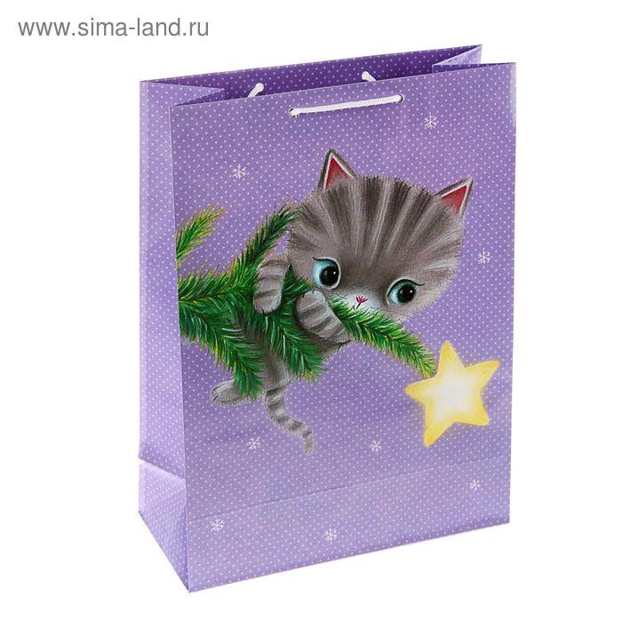 "Пакет подарочный ""Котенок на ветке"", 36 х 26 х 11.5 см, Hallmark"