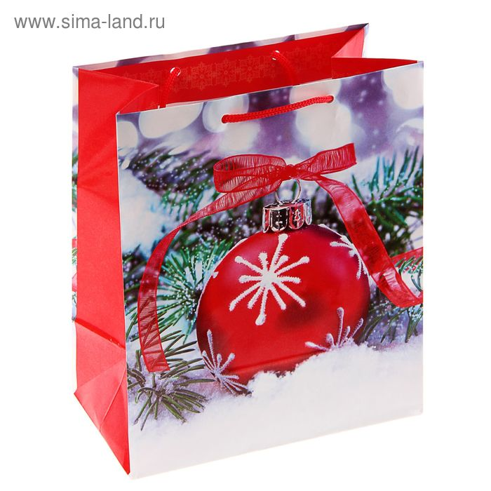"Пакет подарочный ""Красный шар"", 36 х 26 х 11.5 см"