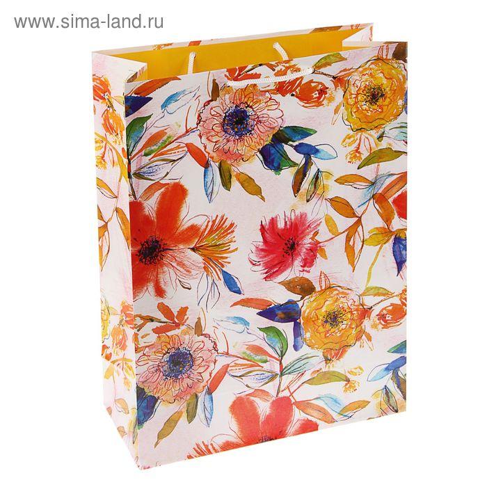 """Пакет подарочный """"Рисованные цветочки"""", 36 х 26 х 11.5 см"""