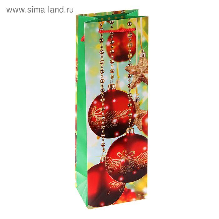 """Пакет подарочный под бутылку """"Праздничное сияние"""", 36 х 12 х 8.5 см"""