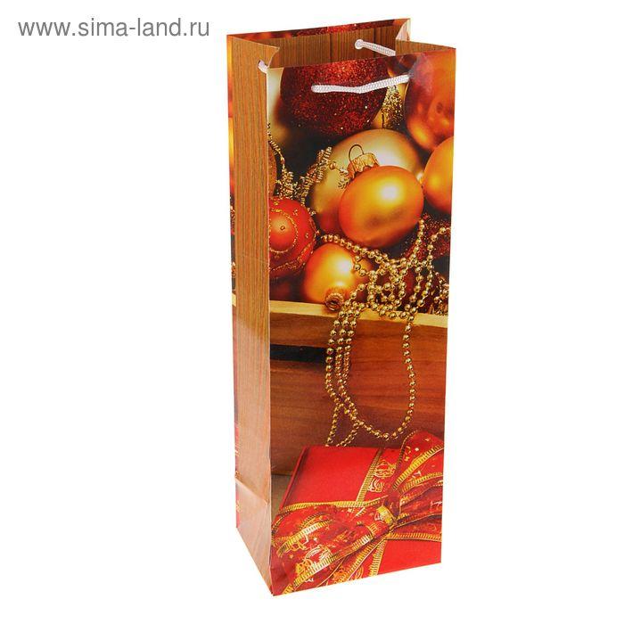 """Пакет подарочный под бутылку """"Сундук игрушек"""", 36 х 12 х 8.5 см"""