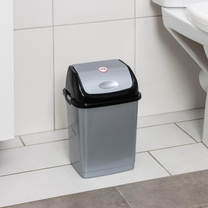 """Контейнер для мусора 4 л, """"Камелия"""", цвет серебристый перламутр/черный"""