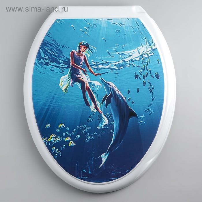 """Сиденье с крышкой для унитаза """"ДЕКОР. Девушка с дельфином"""", цвет белый"""