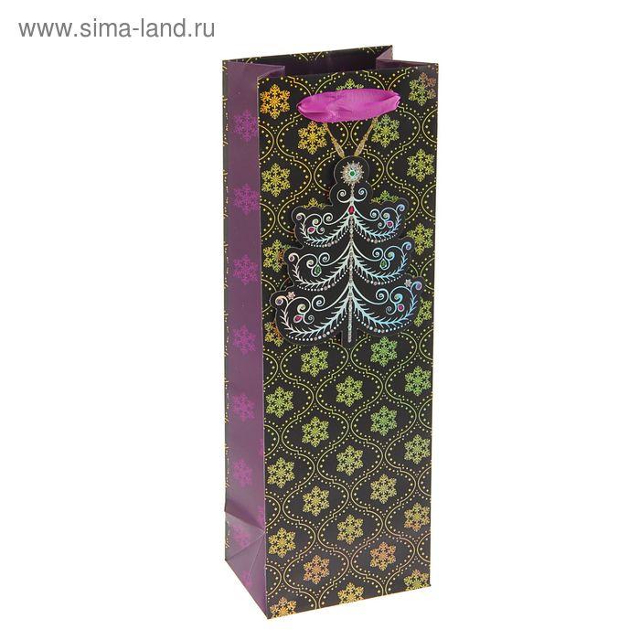 """Пакет подарочный под бутылку """"Витиеватые узоры"""" люкс, 36 х 12 х 8.5 см"""