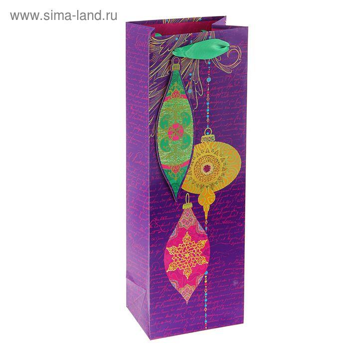 """Пакет подарочный под бутылку """"Праздничные блики"""" люкс, 36 х 12 х 8.5 см"""