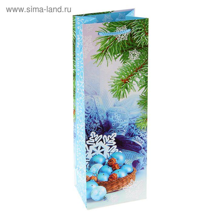 """Пакет подарочный под бутылку """"Шарики в корзинке"""", 36 х 12 х 8.5 см"""