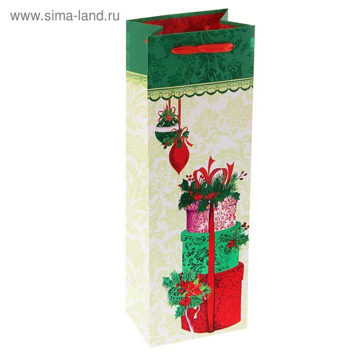 """Пакет подарочный под бутылку """"Рождественские подарки"""" люкс, 36 х 12 х 8.5 см"""
