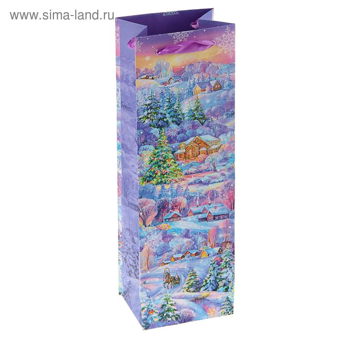 "Пакет подарочный под бутылку ""Зима в деревне"" люкс, 36 х 12 х 8.5 см"