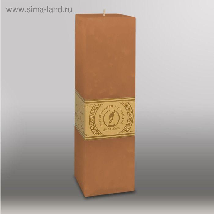 """Свеча квадратная призма """"Мрамор"""", 75х75х250мм,  коричневый"""