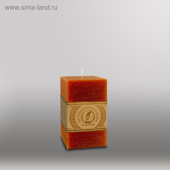 """Свеча квадратная призма """"Рельеф"""", 75x75x125мм,  коричневый"""