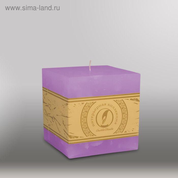 "Свеча куб ""Мрамор"", 100мм,  сиреневый"