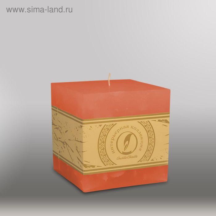 """Свеча куб """"Мрамор"""", 100мм,  облепиховый"""