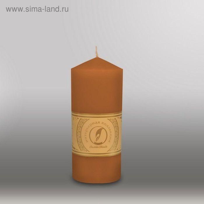 "Свеча цилиндр с конусом ""Классика"", 70x155мм,  коричневый"