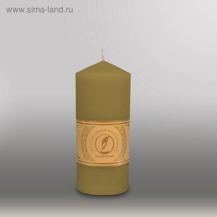 """Свеча цилиндр с конусом """"Классика"""", 70x155мм,  оливковый"""