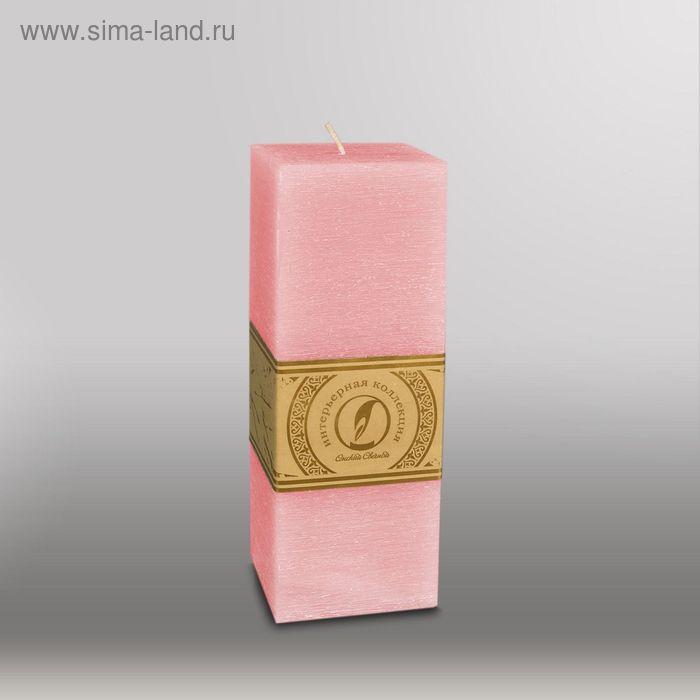 """Свеча квадратная призма """"Рельеф"""", 75x75x205мм,  розовый"""