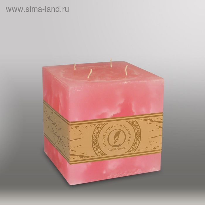 "Свеча куб ""Мрамор"", 125мм,  4 фитиля розовый"