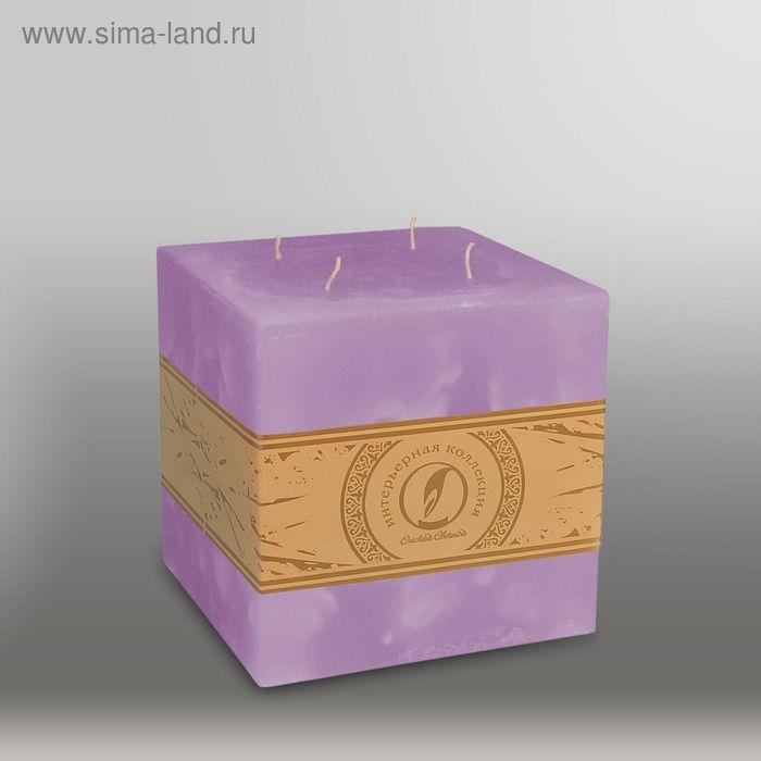 """Свеча куб """"Мрамор"""", 125мм,  4 фитиля сиреневый"""