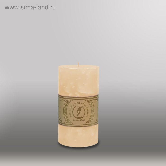"Свеча цилиндр ""Мрамор"", 80x150мм,  кремовый"